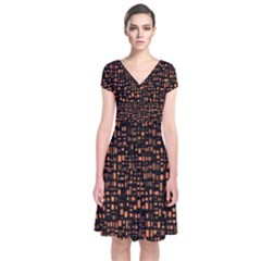 Brown Box Background Pattern Short Sleeve Front Wrap Dress