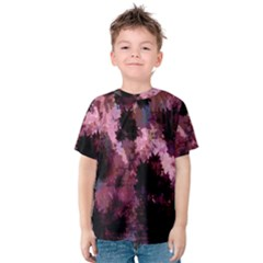 Grunge Purple Abstract Texture Kids  Cotton Tee