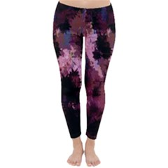 Grunge Purple Abstract Texture Classic Winter Leggings