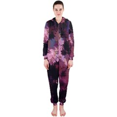 Grunge Purple Abstract Texture Hooded Jumpsuit (Ladies)