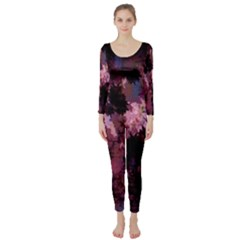 Grunge Purple Abstract Texture Long Sleeve Catsuit