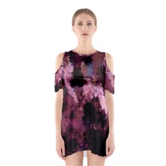 Grunge Purple Abstract Texture Shoulder Cutout One Piece