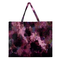 Grunge Purple Abstract Texture Zipper Large Tote Bag