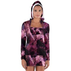 Grunge Purple Abstract Texture Women s Long Sleeve Hooded T-shirt