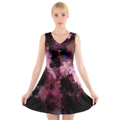 Grunge Purple Abstract Texture V Neck Sleeveless Skater Dress