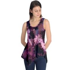 Grunge Purple Abstract Texture Sleeveless Tunic