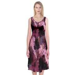 Grunge Purple Abstract Texture Midi Sleeveless Dress