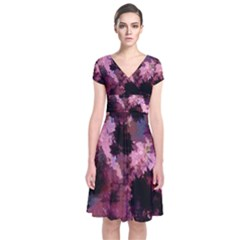 Grunge Purple Abstract Texture Short Sleeve Front Wrap Dress