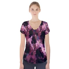 Grunge Purple Abstract Texture Short Sleeve Front Detail Top