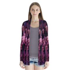 Grunge Purple Abstract Texture Cardigans