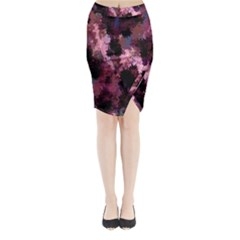 Grunge Purple Abstract Texture Midi Wrap Pencil Skirt