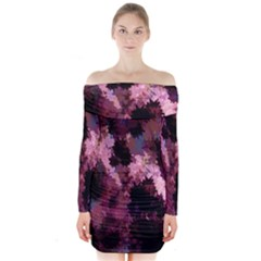 Grunge Purple Abstract Texture Long Sleeve Off Shoulder Dress