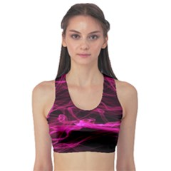 Abstract Pink Smoke On A Black Background Sports Bra