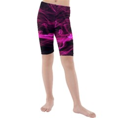 Abstract Pink Smoke On A Black Background Kids  Mid Length Swim Shorts