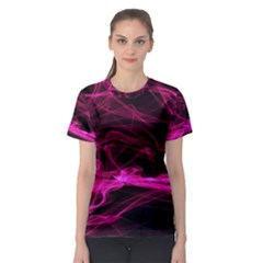 Abstract Pink Smoke On A Black Background Women s Sport Mesh Tee