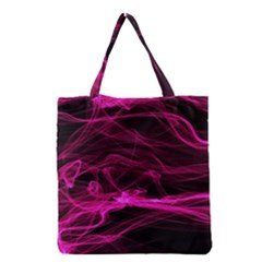 Abstract Pink Smoke On A Black Background Grocery Tote Bag