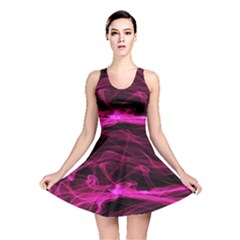 Abstract Pink Smoke On A Black Background Reversible Skater Dress