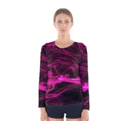 Abstract Pink Smoke On A Black Background Women s Long Sleeve Tee