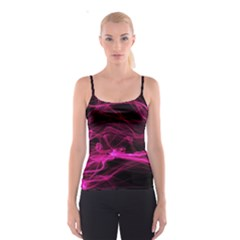 Abstract Pink Smoke On A Black Background Spaghetti Strap Top