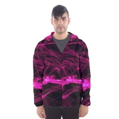 Abstract Pink Smoke On A Black Background Hooded Wind Breaker (Men)