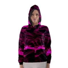 Abstract Pink Smoke On A Black Background Hooded Wind Breaker (women)