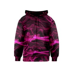 Abstract Pink Smoke On A Black Background Kids  Zipper Hoodie