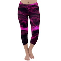 Abstract Pink Smoke On A Black Background Capri Winter Leggings