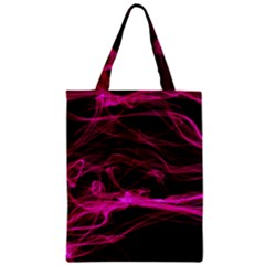 Abstract Pink Smoke On A Black Background Zipper Classic Tote Bag