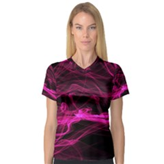 Abstract Pink Smoke On A Black Background Women s V-Neck Sport Mesh Tee
