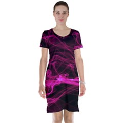 Abstract Pink Smoke On A Black Background Short Sleeve Nightdress