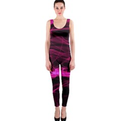 Abstract Pink Smoke On A Black Background Onepiece Catsuit