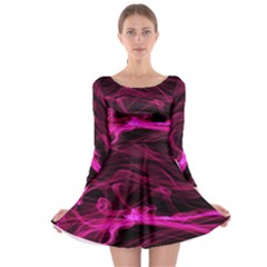 Abstract Pink Smoke On A Black Background Long Sleeve Skater Dress