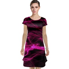 Abstract Pink Smoke On A Black Background Cap Sleeve Nightdress
