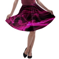 Abstract Pink Smoke On A Black Background A-line Skater Skirt
