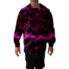 Abstract Pink Smoke On A Black Background Hooded Wind Breaker (kids)