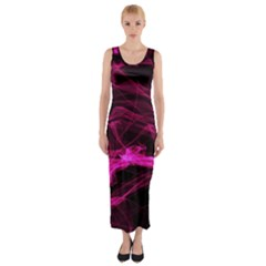 Abstract Pink Smoke On A Black Background Fitted Maxi Dress
