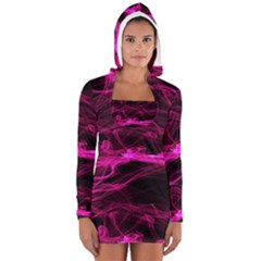 Abstract Pink Smoke On A Black Background Women s Long Sleeve Hooded T-shirt