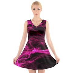 Abstract Pink Smoke On A Black Background V Neck Sleeveless Skater Dress