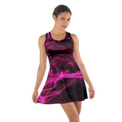 Abstract Pink Smoke On A Black Background Cotton Racerback Dress