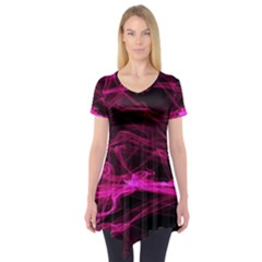 Abstract Pink Smoke On A Black Background Short Sleeve Tunic