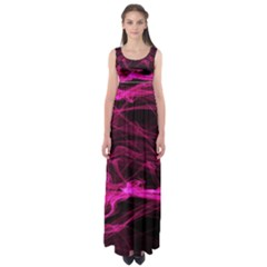 Abstract Pink Smoke On A Black Background Empire Waist Maxi Dress
