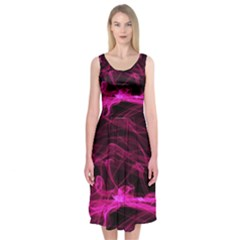 Abstract Pink Smoke On A Black Background Midi Sleeveless Dress
