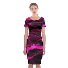 Abstract Pink Smoke On A Black Background Classic Short Sleeve Midi Dress