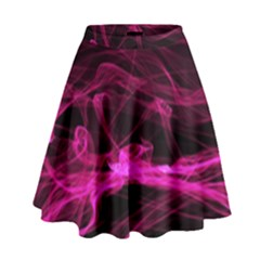 Abstract Pink Smoke On A Black Background High Waist Skirt