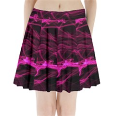 Abstract Pink Smoke On A Black Background Pleated Mini Skirt