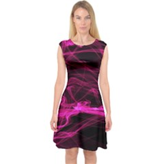 Abstract Pink Smoke On A Black Background Capsleeve Midi Dress