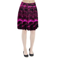 Abstract Pink Smoke On A Black Background Pleated Skirt