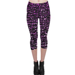 Purple Denim Background Pattern Capri Leggings