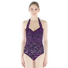 Purple Denim Background Pattern Halter Swimsuit