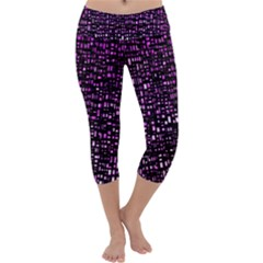 Purple Denim Background Pattern Capri Yoga Leggings